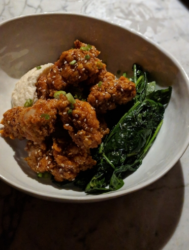 """Fried Chicken"": cold-smoked, home-made sorghum hot sauce, celeriac puree, petit braising greens."