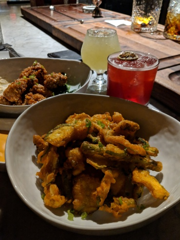 """Summer Vegetable Tempura"": crispy fried vegetables, calabrian pepper aioli, scallion."